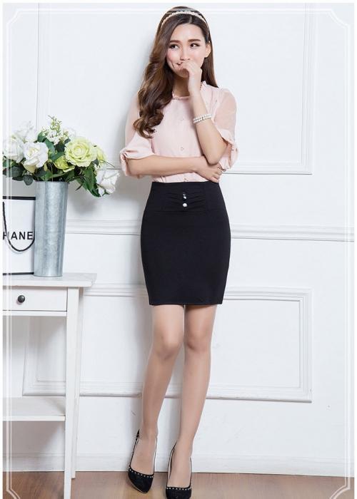 Chân váy nữ Kaki thun co giãn CV131603 (Đen)