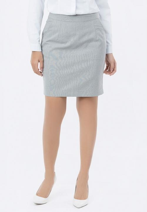Chân váy công sở Titishop CV35 hai túi xéo màu xám