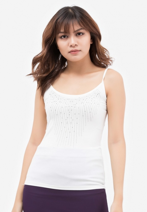 Áo thun mặc vest 2 dây Titishop AOL5 màu trắng viền hạt