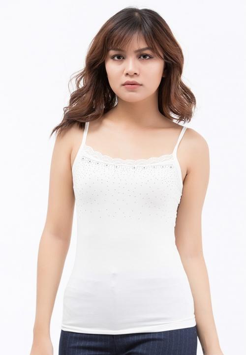 Áo thun Mặc vest 2 dây Titishop AOL3 màu trắng viền ren
