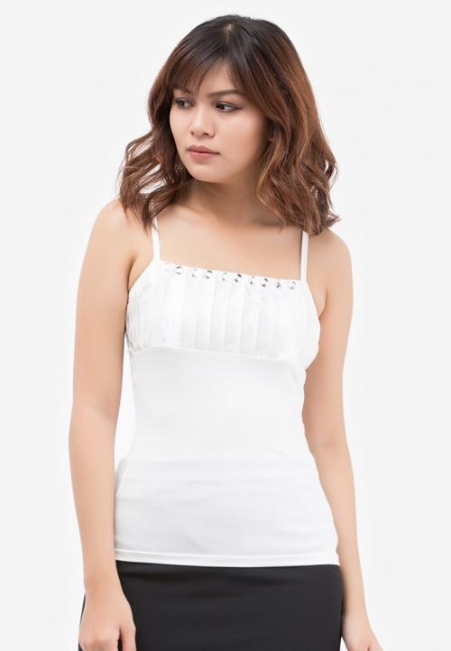 Áo thun 2 dây Titishop AOL6 màu trắng xếp ly ngực
