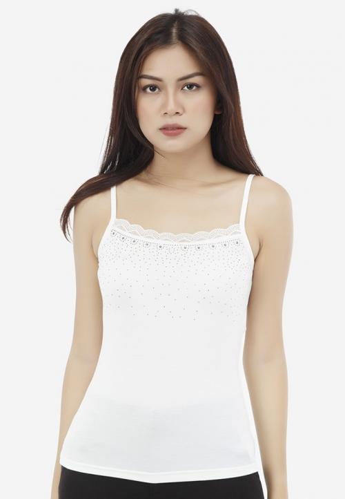 Áo hai dây lót mặc vest AOL8 Titishop trắng đính hạt bẹt trước ngực