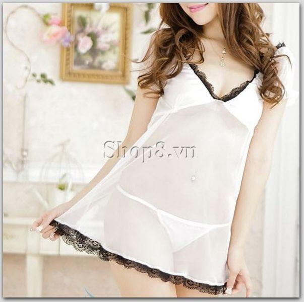 Áo ngủ sexy trắng viền ren đen chỉ 89.000đ