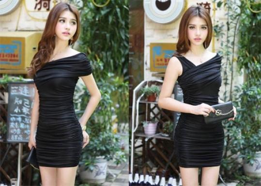 Đầm Body Lệch Vai Cao Cấp: thời trang, sang trọng, quyến rũ. Chất liệu thun lụa mềm mịn, thiết kế ôm sát body
