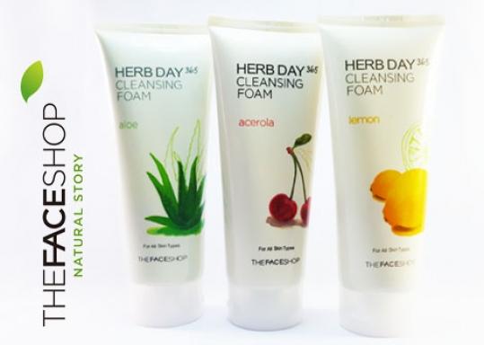 CUNG CẤP VITAMIN, DƯỠNG CHẤT TỪ THIÊN NHIÊN CHO DA MẶT với Sữa Rửa Mặt TheFaceShop Herb Day 365