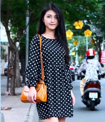 Đầm xòe chấm bi tay dài