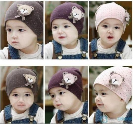 Combo 2 nón len chấm bi hình gấu cho bé