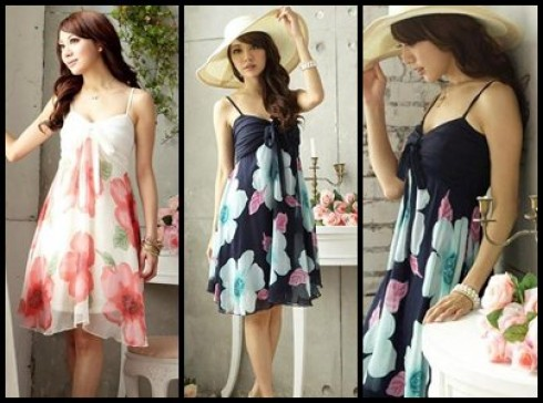 Váy voan 2 dây họa tiết hoa lá