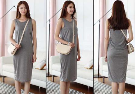 Đầm suông cotton dài đơn giản