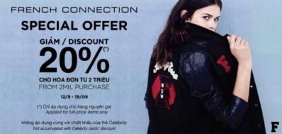 Khuyến mãi thời trang FCUK ưu đãi 20% cho hóa đơn từ 2 triệu trong tháng 9-2014   Tin Khuyen Mai