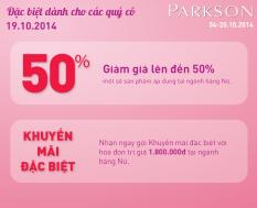 Parkson saleoff 50% tất cả các mặt hàng tại khu vực warehouse sale | Tin Khuyen Mai