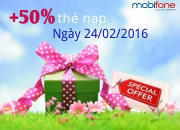Mobifone khuyến mãi 50% thẻ nạp ngày 24/02/2016 | Tin Khuyen Mai