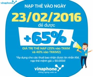Vinaphone khuyến mãi khủng 65% thẻ nạp ngày 23/02/2016 | Tin Khuyen Mai