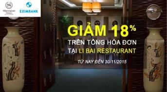 Ưu đãi cho chủ thẻ Eximbank tại Nhà hàng Hoa LI BAI (Sheraton Saigon Hotel) | Tin Khuyen Mai
