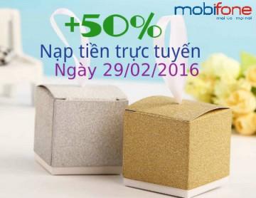 Mobifone khuyến mãi trực tuyến 50% ngày 29/02 | Tin Khuyen Mai