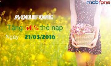 Khuyến mãi 50% nạp thẻ Mobifone ngày 21/03/2016 | Tin Khuyen Mai