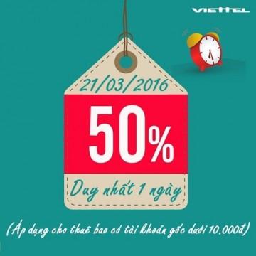 Khuyến mãi 50% thẻ nạp Viettel ngày 21 tháng 03/2016 | Tin Khuyen Mai