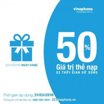 Khuyến mãi ngày 31/3 Vinaphone tặng 50% thẻ nạp | Tin Khuyen Mai