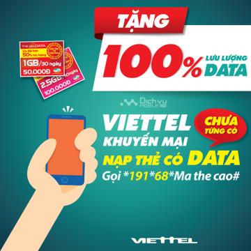 Viettel khuyến mãi tặng 100% thẻ nạp data ngày 5/4 – 30/4 | Tin Khuyen Mai